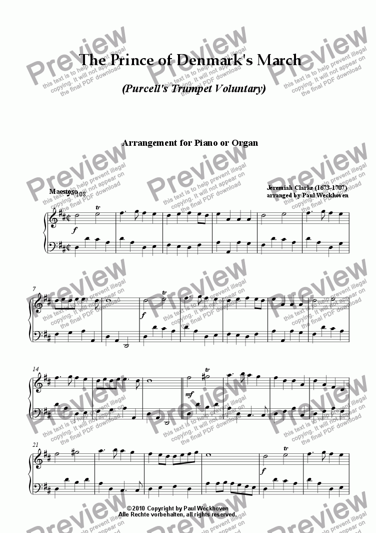 page one of Purcell's Famous Trumpet Voluntary