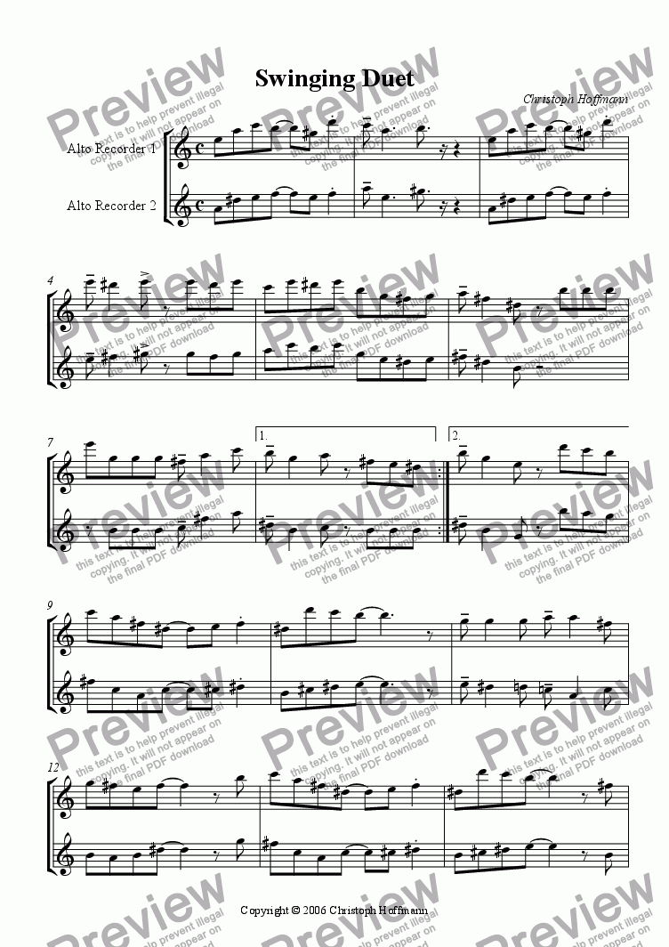 page one of Swinging Duet for AA-Recorders