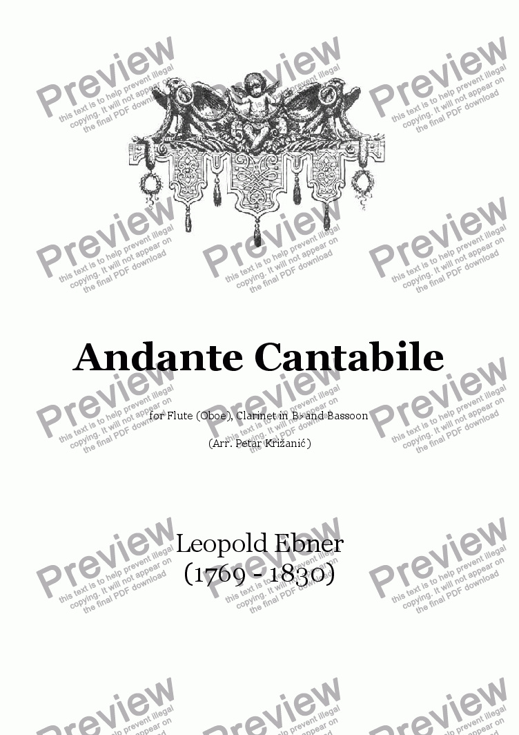 page one of Andante Cantabile (L. Ebner) - for Flute(Oboe), Clarinet in Bb and Bassoon