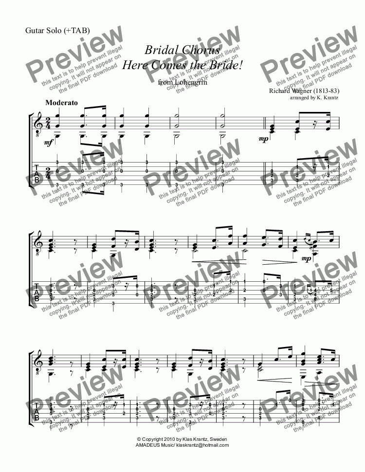 page one of Bridal Chorus from Lohengrin - Here Comes the Bride! for guitar solo (+TAB)