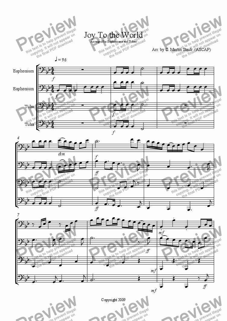 page one of Joy to the World - for Low Brass Quartet
