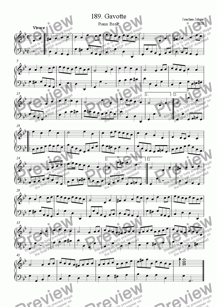 page one of Piano Book 189 (Gavotte)