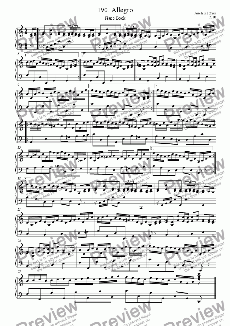 page one of Piano Book 190 (Allegro)