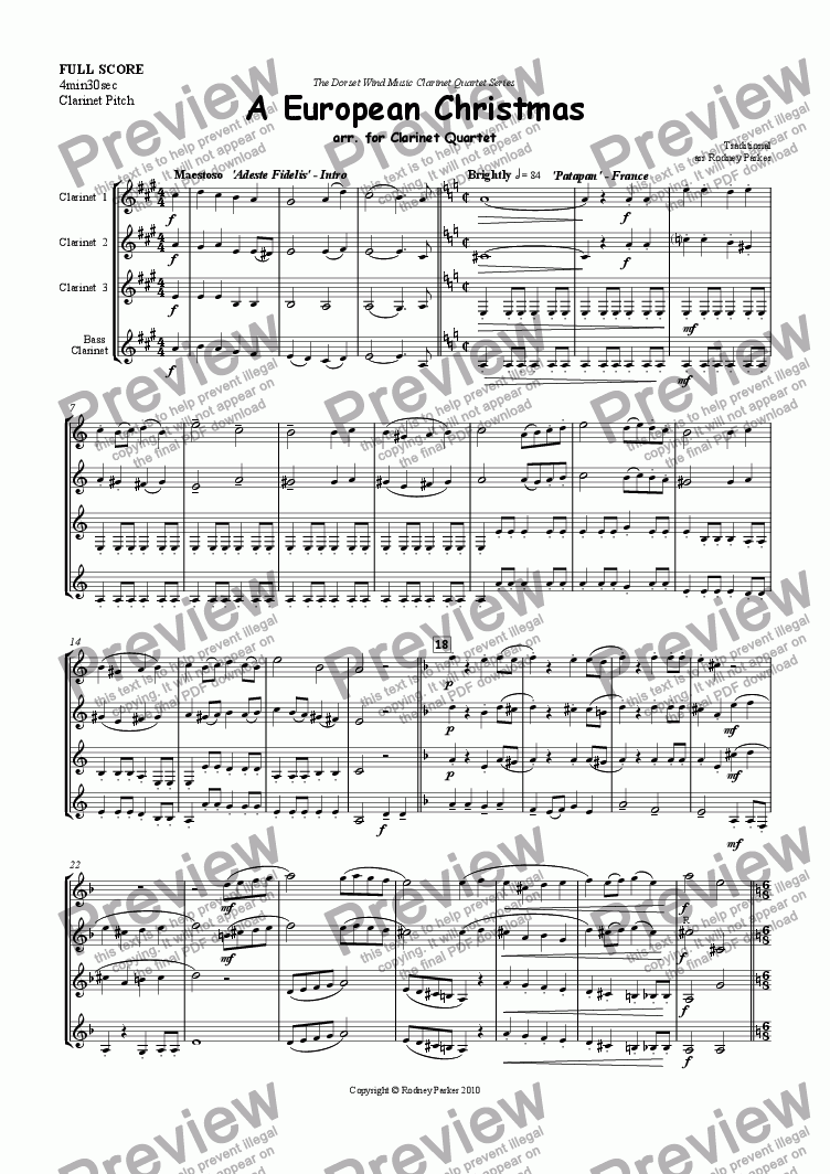 page one of A European Christmas arr. for Clarinet Quartet