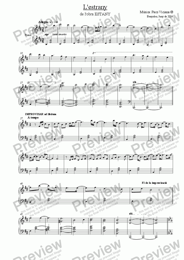 page one of 210-Estany (10-L'Estrany-Piano solo version)