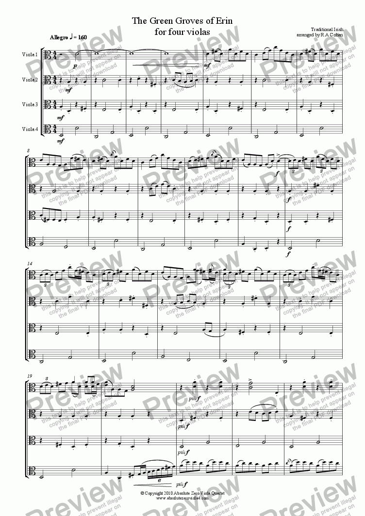 page one of trad. Irish - THE GREEN GROVES OF ERIN - A traditional Irish melody for four violasASALTTEXT