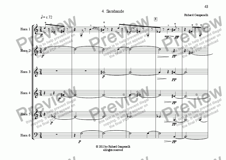 page one of Suite for Horn Sextet #4 Saraband