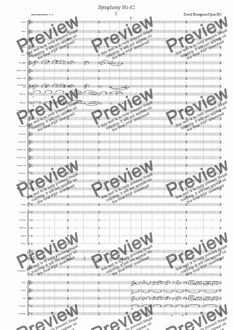 page one of Symphony No 62 1st movt