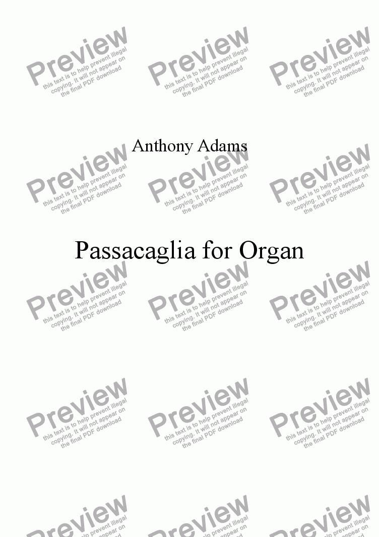 page one of Passacaglia for Organ