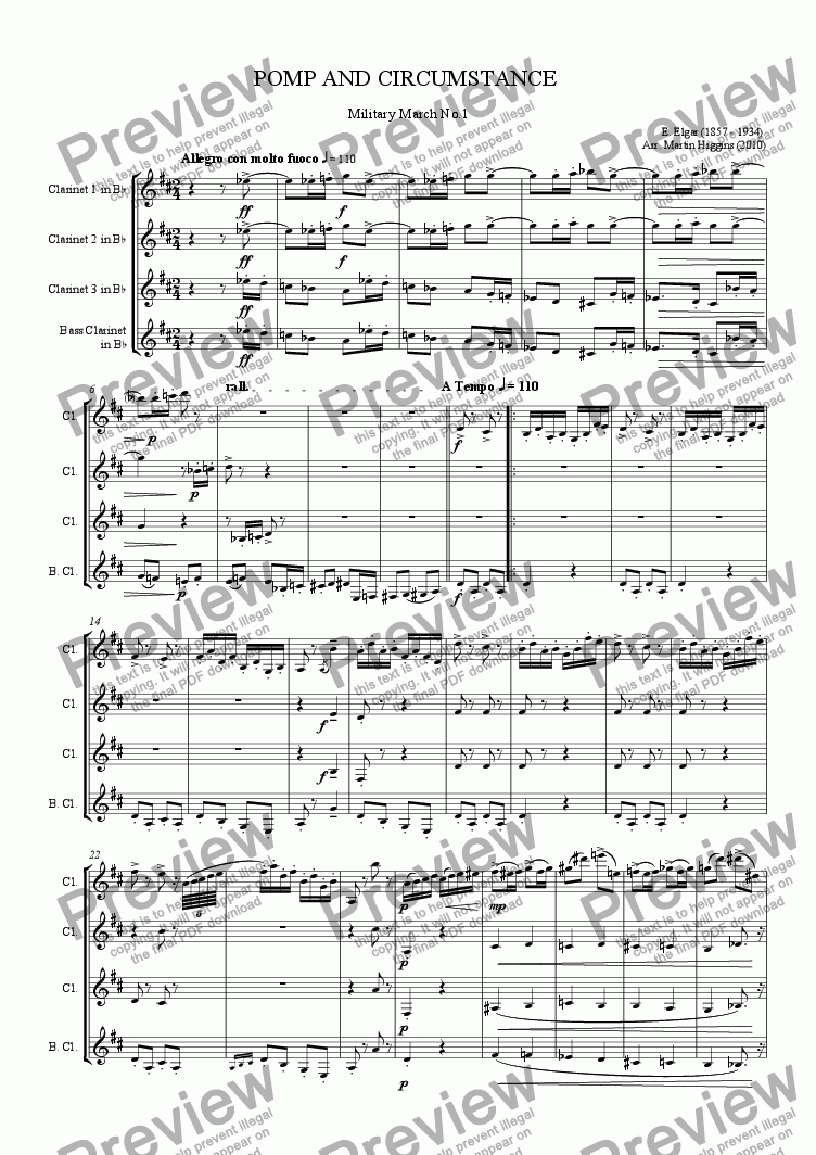 page one of Elgar: Pomp and Circumstance March No. 1 (Clarinet Quartet) (2010)