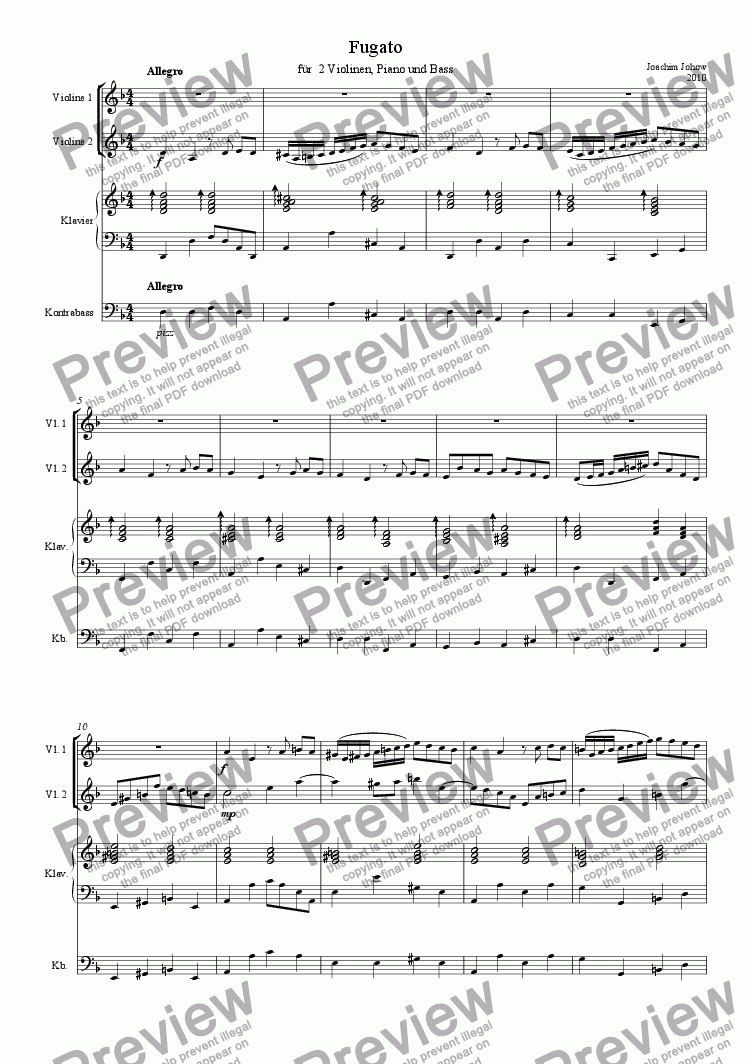 page one of Fugato a 2 Violinen, Klavier und Bass