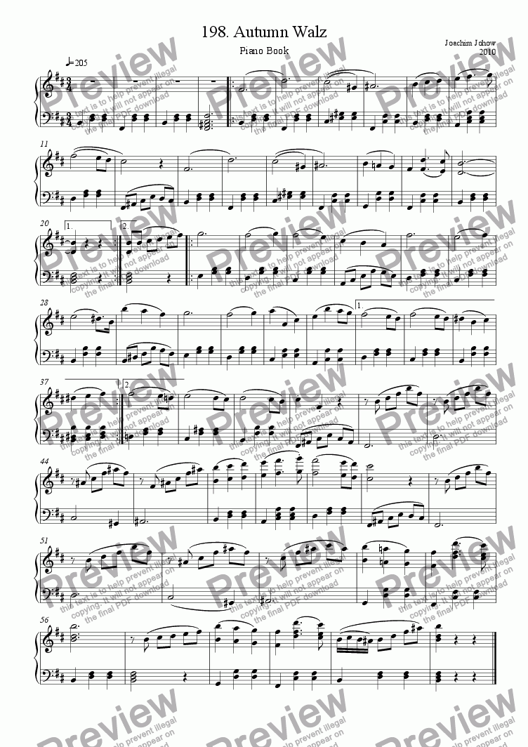 page one of Piano Book 198 (Autumn Walz)
