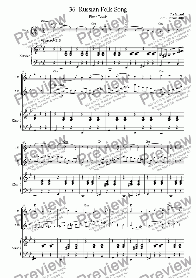 page one of Flute Book 36 (Russian Folk Song)