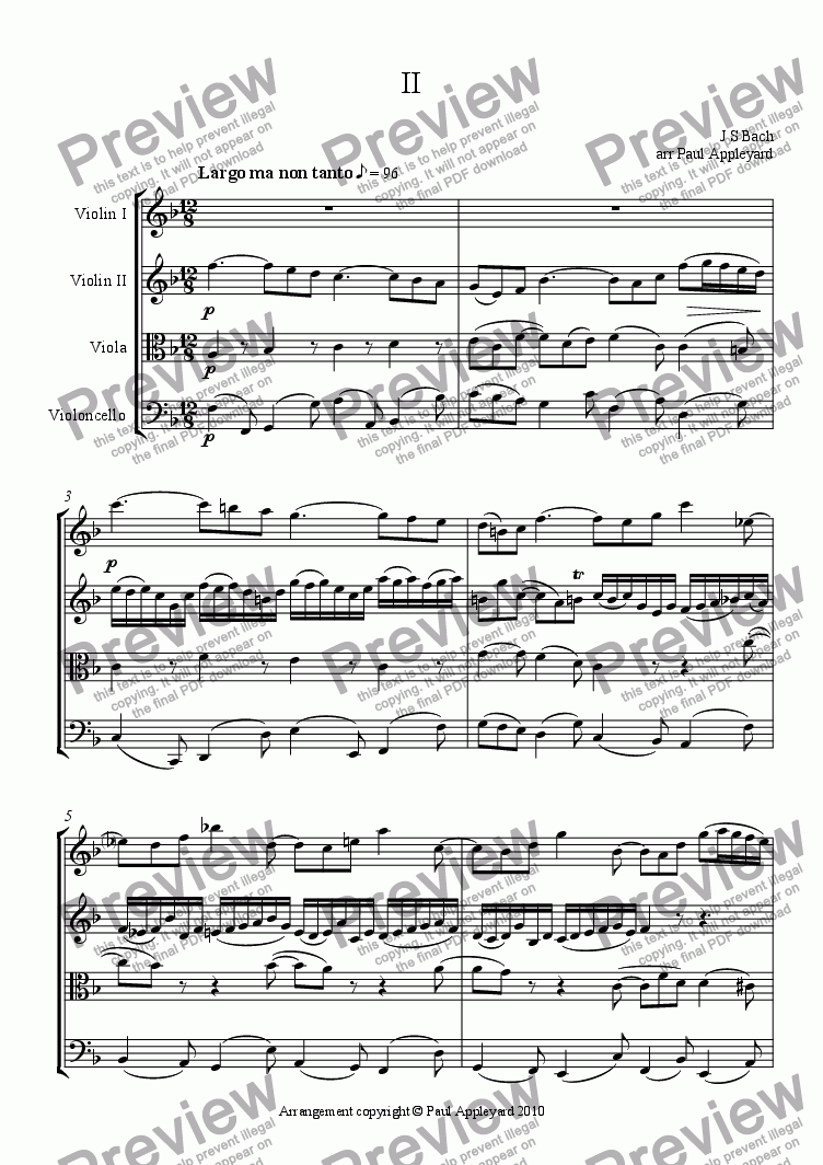 page one of Concerto for 2 Violins in D minor - JS Bach (Movement 2)ASALTTEXT