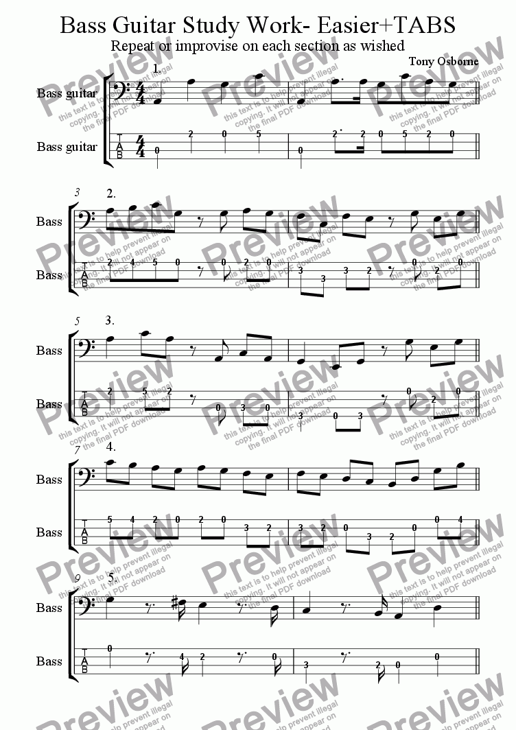 page one of Bass Guitar Study Work -Easy with TabsASALTTEXT