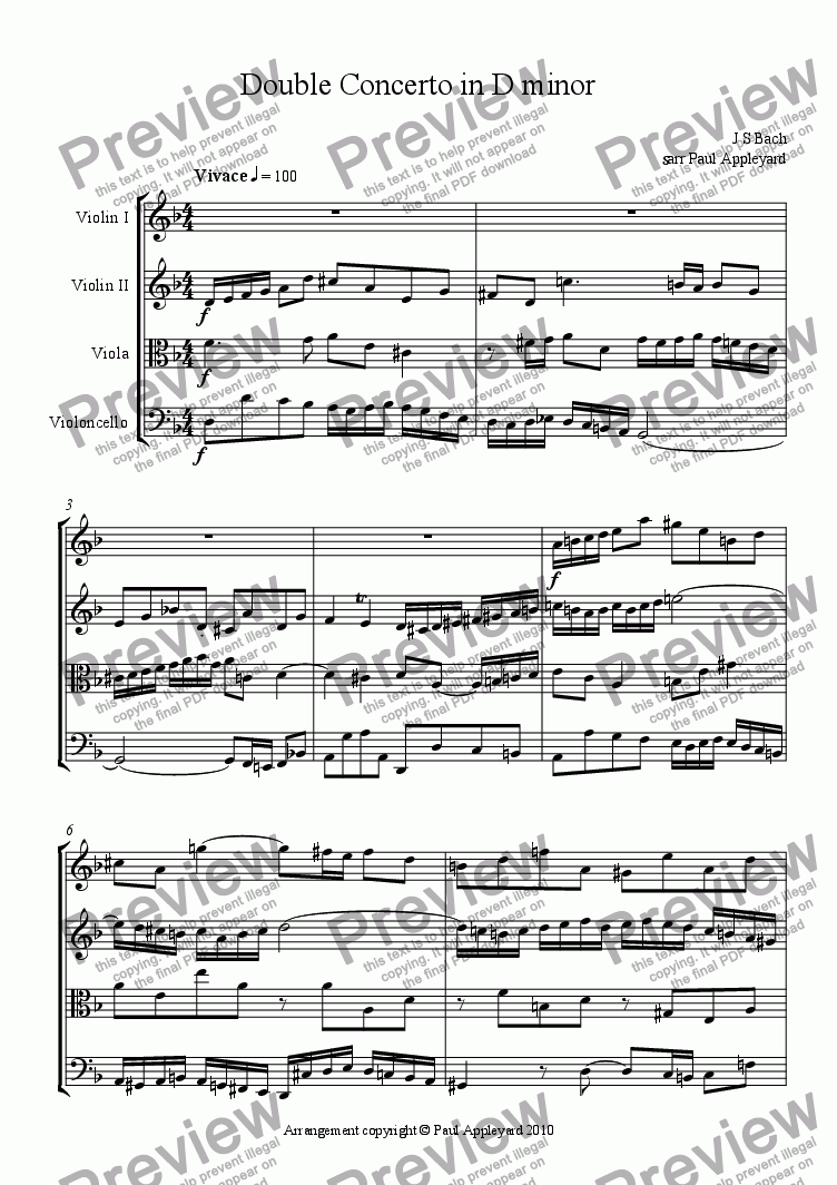 page one of Concerto in D minor for 2 Violins - JS Bach) (Movement 1)