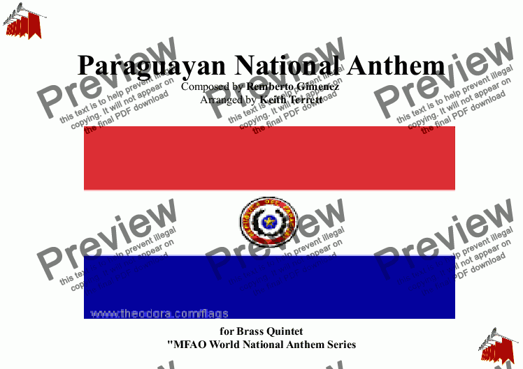 page one of Paraguayan National Anthem for Brass Quintet (MFAO World National Anthem Series)