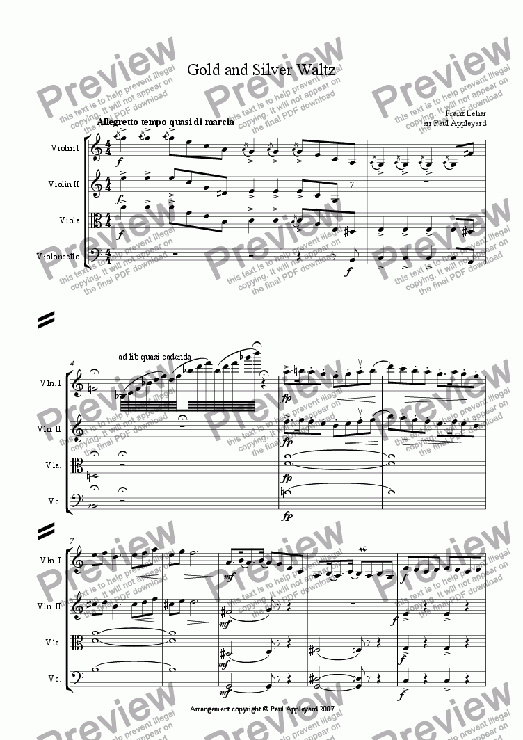 page one of Gold & Silver Waltz