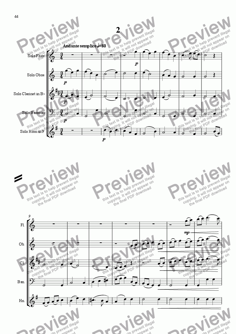 page one of Sinfonietta Concertante - Movt 2