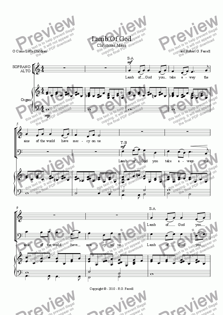 page one of Lamb of God - Christmas Mass