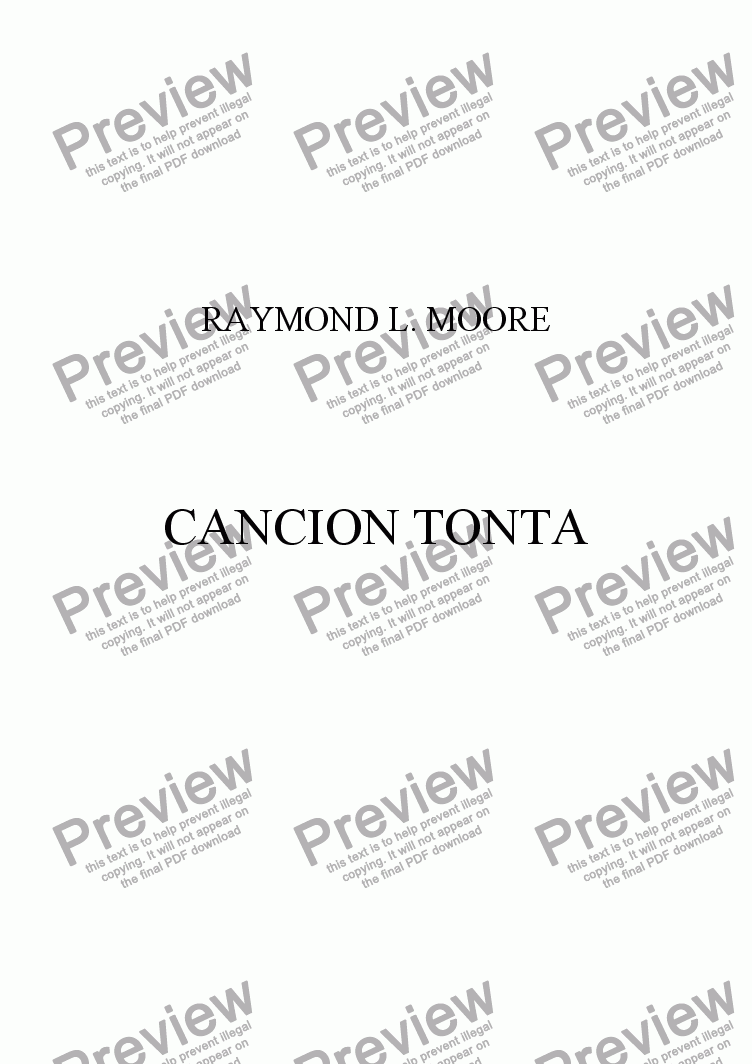 page one of Cancion Tonta