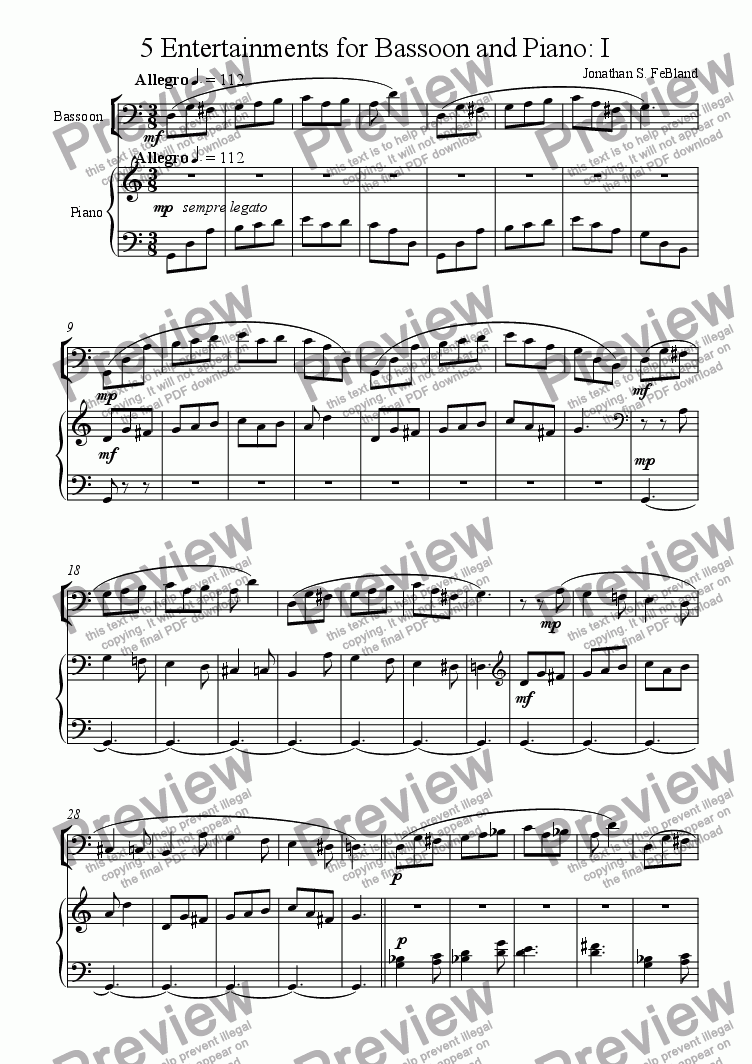 page one of 5 Entertainments for Bassoon and Piano (No.1)ASALTTEXT