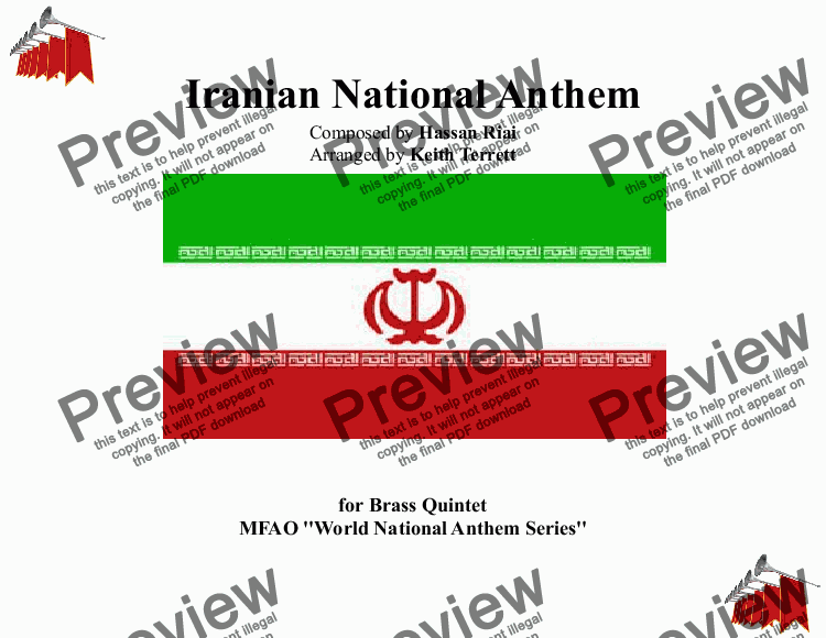 page one of Iranian National Anthem for Brass Quintet (MFAO World National Anthem Series)