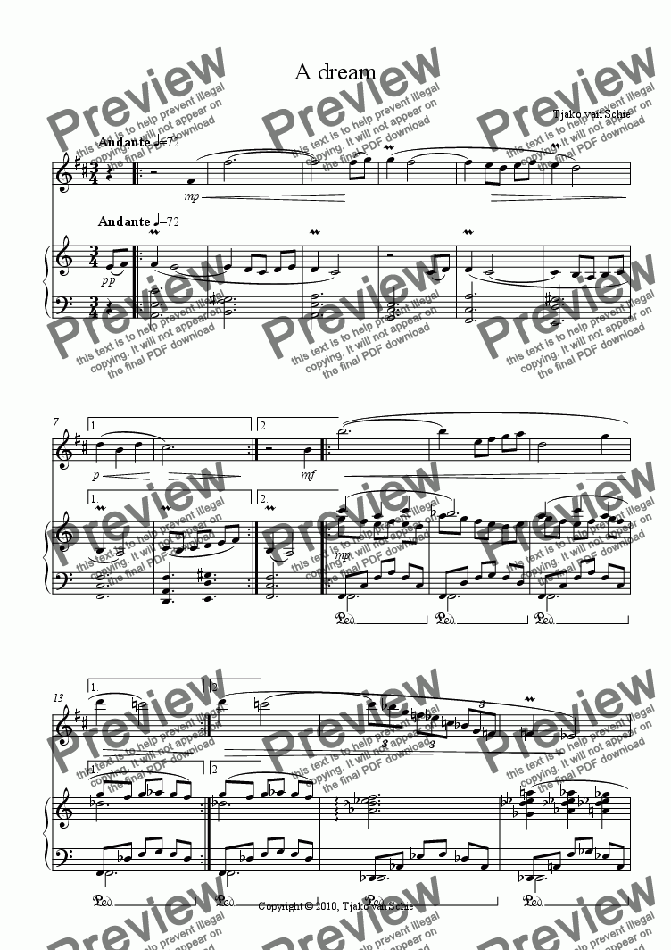 page one of A dream (piece for soprano sax and piano)