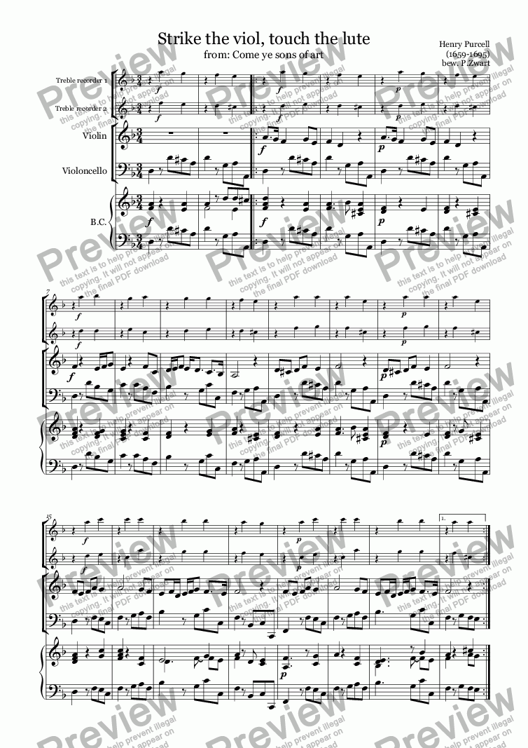 page one of Strike the viol, touch the lute (Purcell)