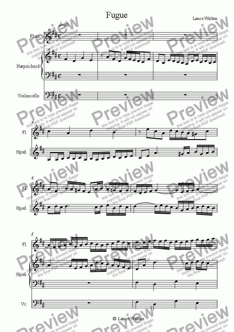 page one of Fugue in D Major