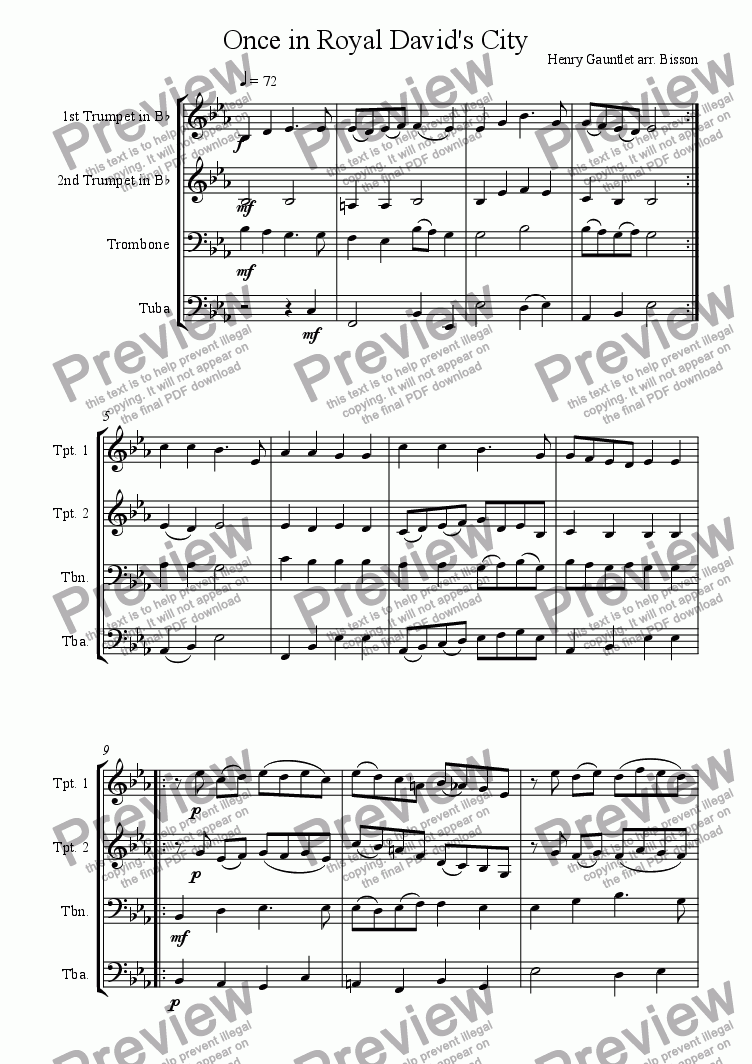 page one of Once in Royal David's City Brass QuartetASALTTEXT