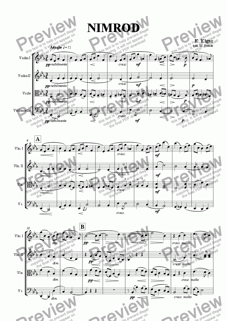 page one of Nimrod from Enigma Variations