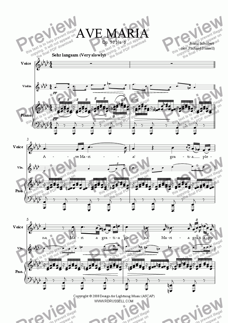 page one of Schubert's Ave Maria, arranged for voice and violin