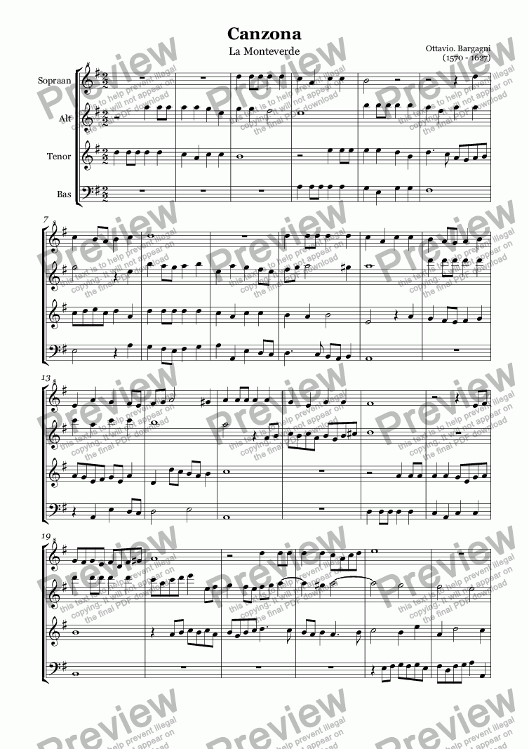 page one of Canzona La Monteverde (Bargagni)