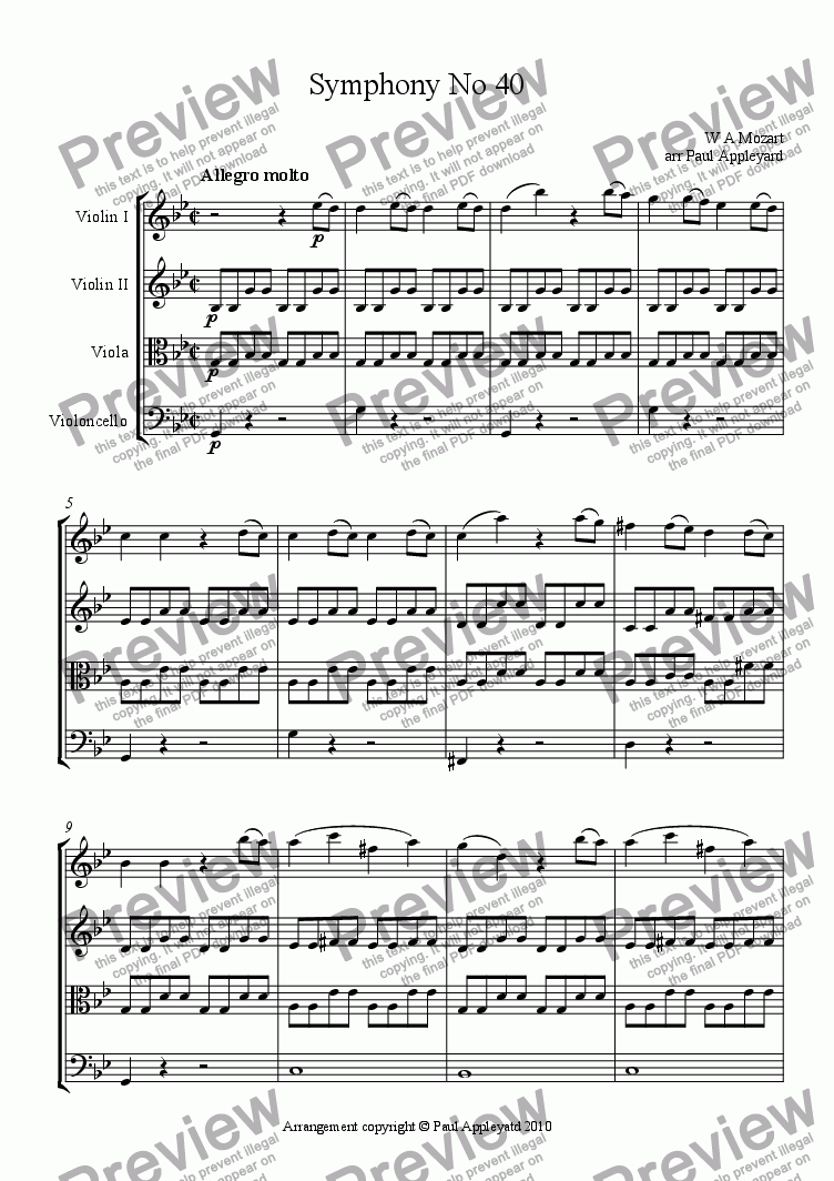 page one of Symphony No 40 K550 (First movement)