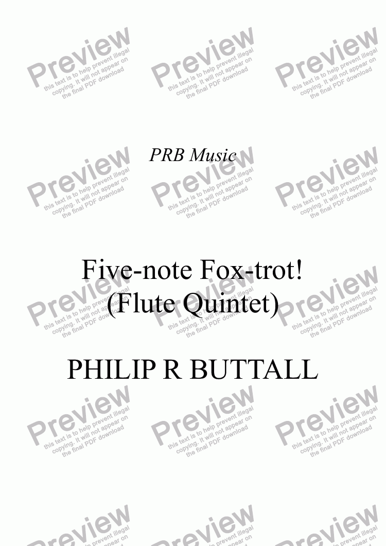 page one of Five-note Fox-trot! (Flute Quintet)