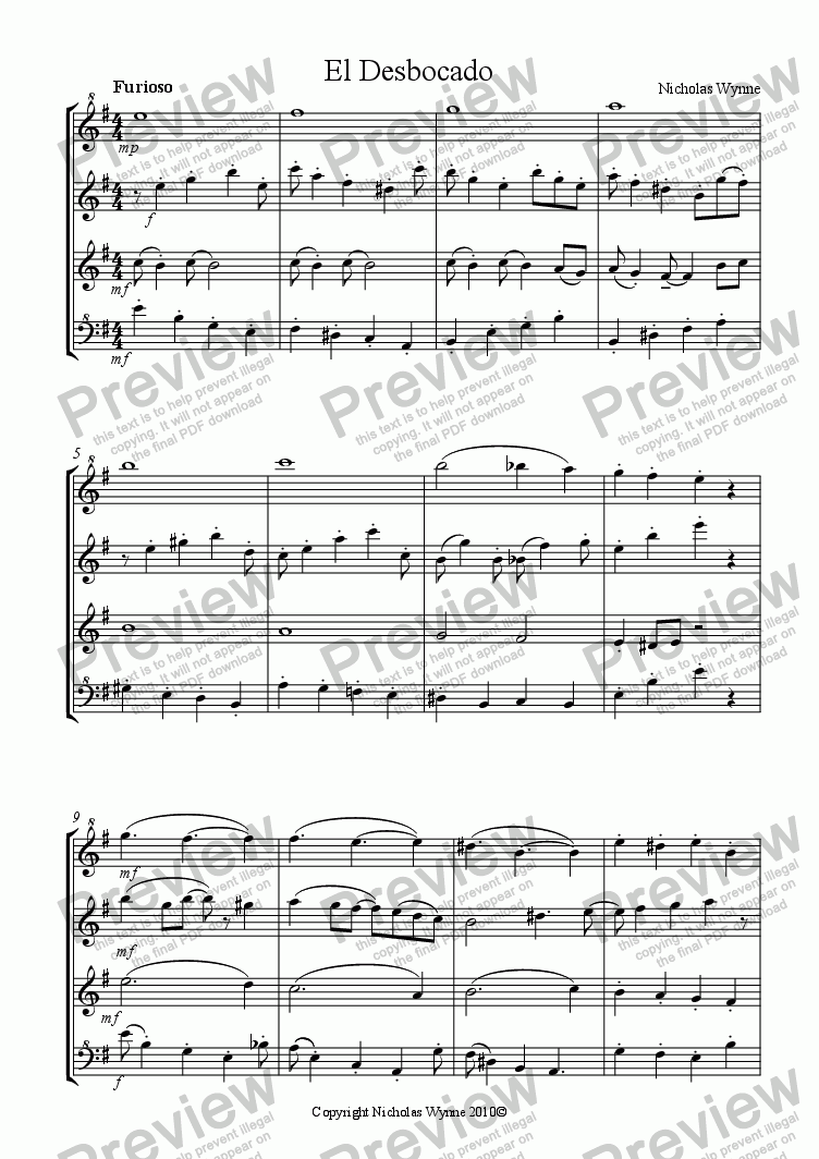 page one of Hot and Humid for Recorder QuartetASALTTEXT
