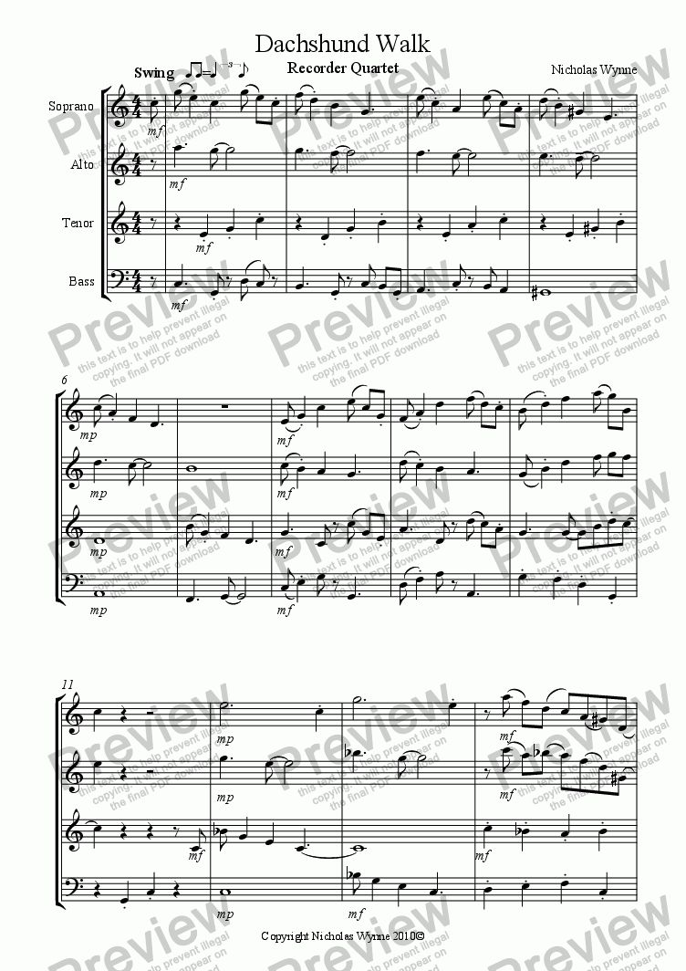 page one of Walkin' the Dog for Recorder Quartet