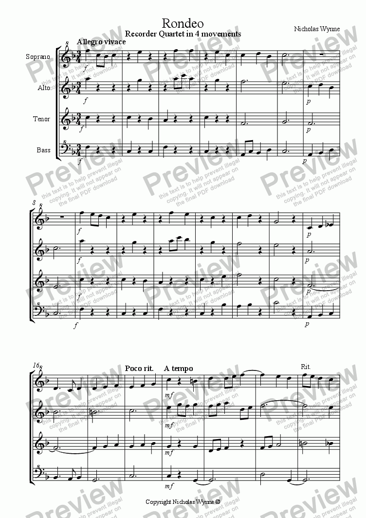page one of Rondeo for Recorder Quartet in 4 Movements