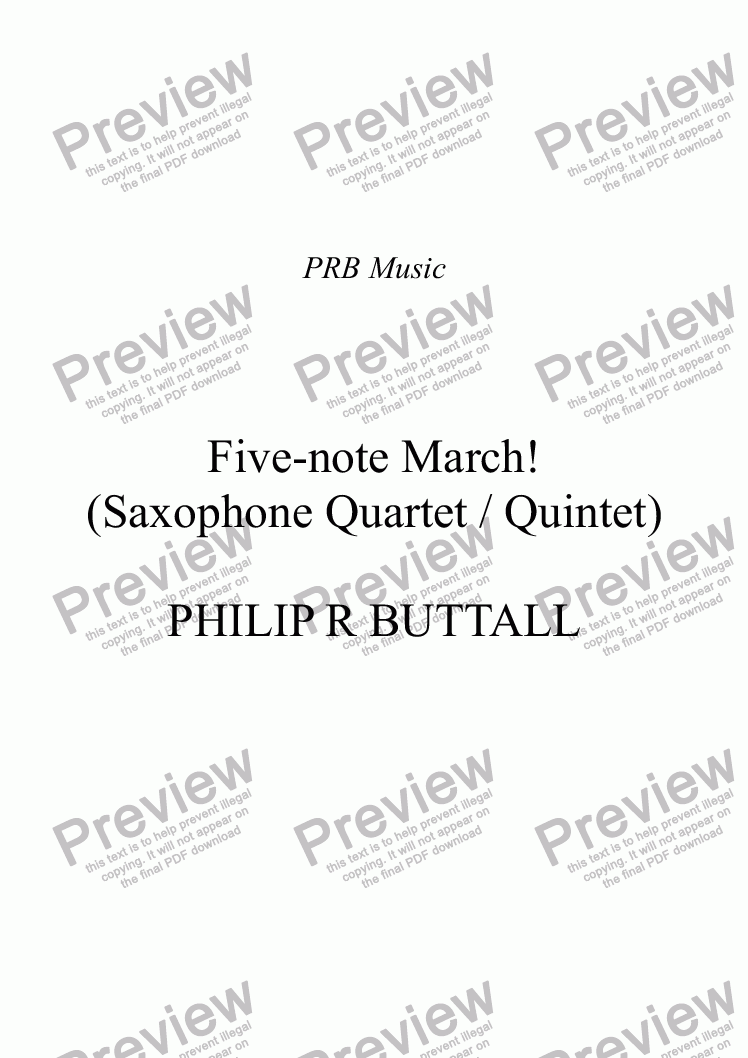 page one of Five-note March! (Saxophone Quartet / Quintet)