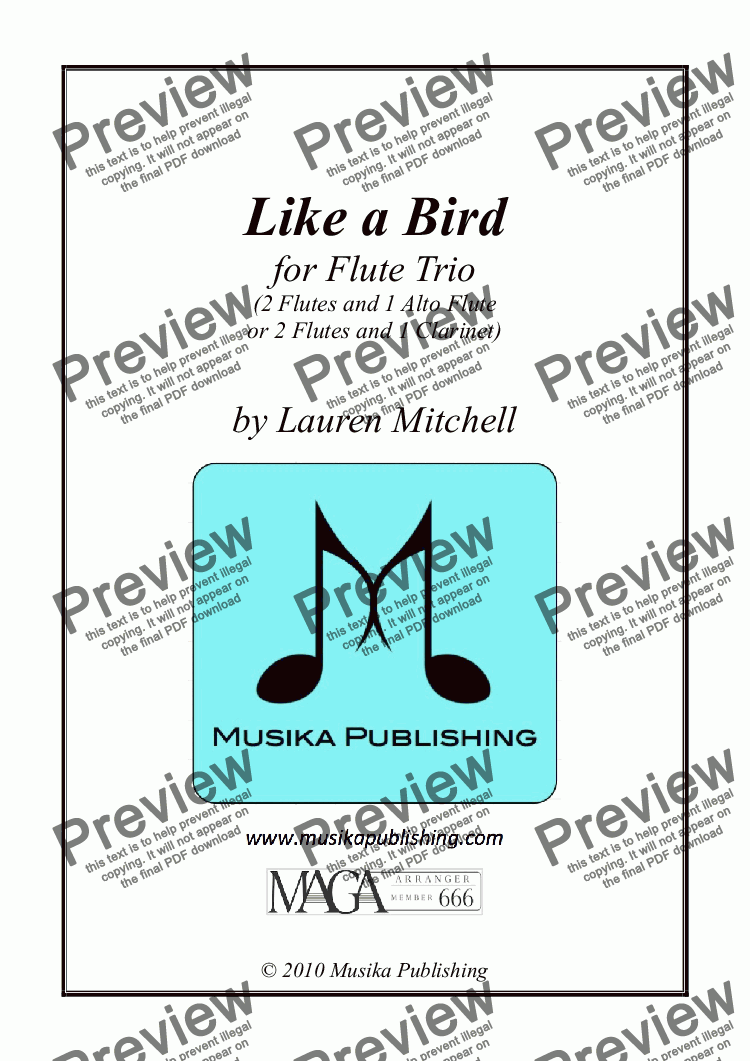 page one of Like A Bird - for Flute TrioASALTTEXT