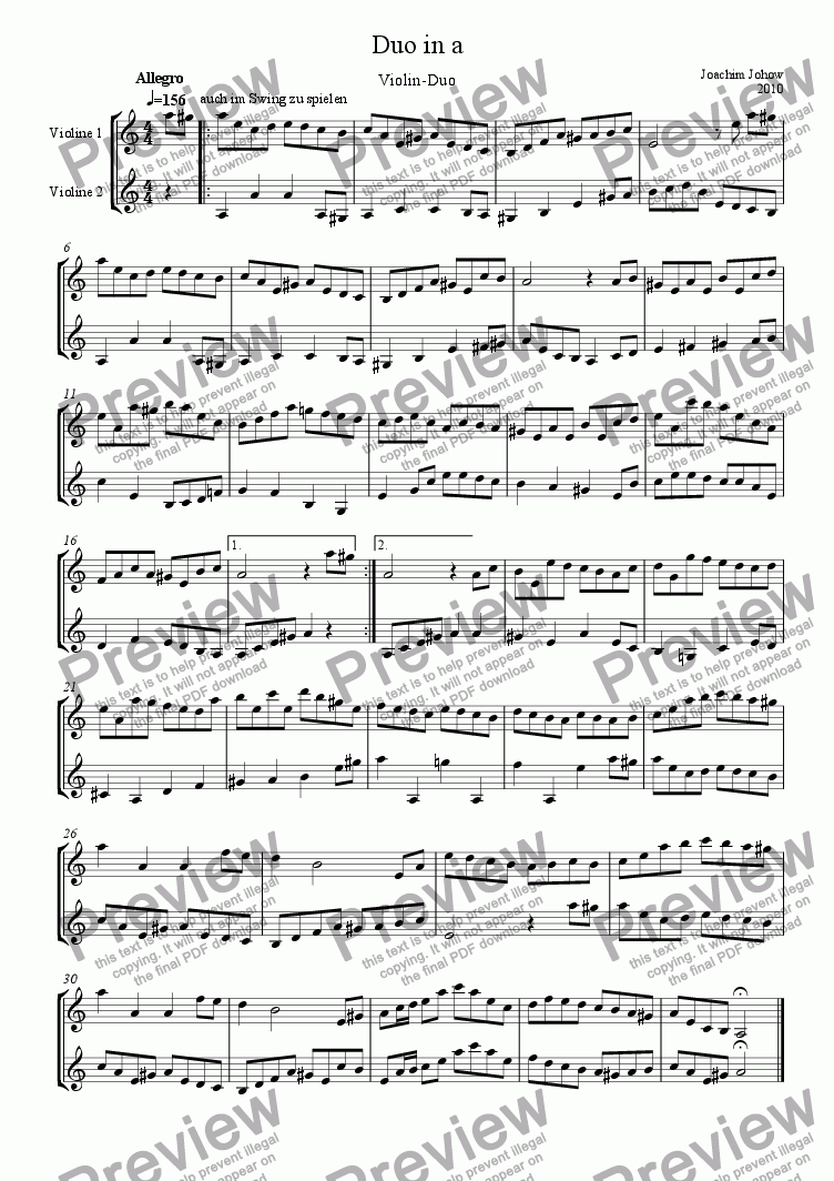 page one of Violin Duet in a