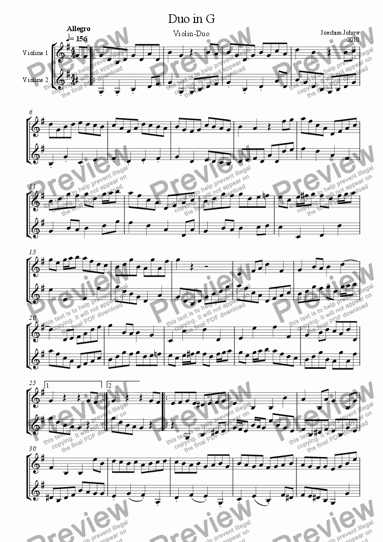 page one of Violin Duet in G