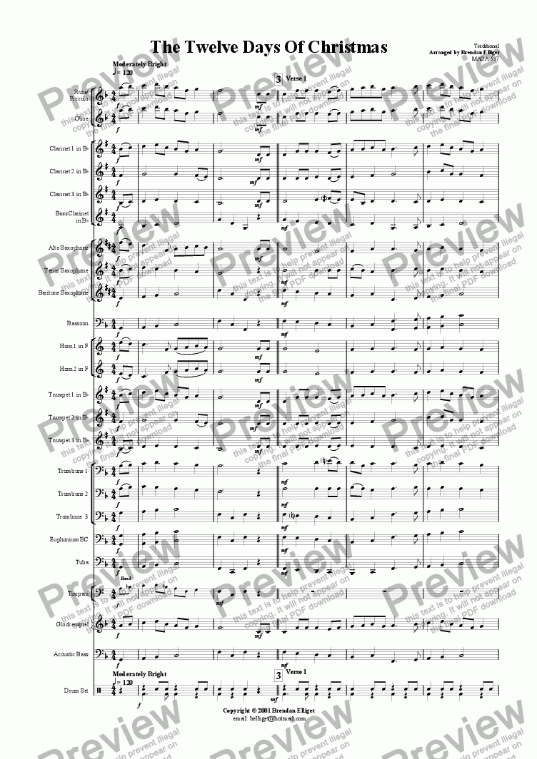 page one of The Twelve Days of Christmas - Concert Band