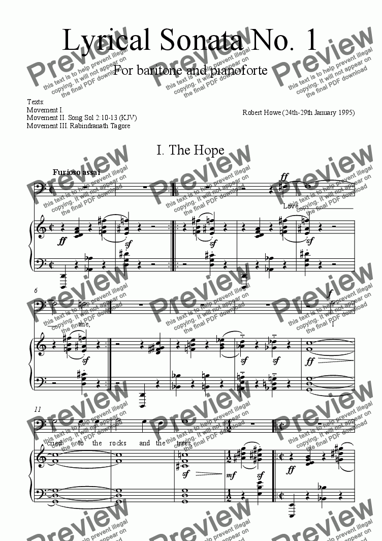 page one of Lyrical Sonata No.1 (piano and baritone voice)ASALTTEXT