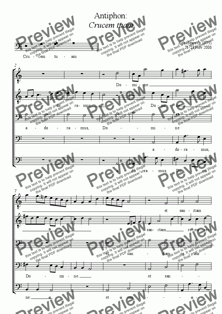 page one of Musica pro Feria VI in Parasceve (Good Friday): Antiphon - Crucem tuamASALTTEXT
