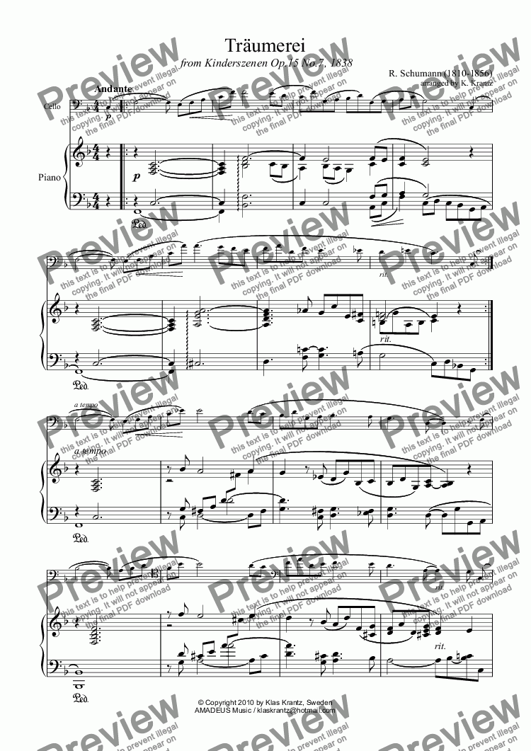 page one of Traumerei / Reverie / Dreaming Op.15 No.7 for violoncello and piano