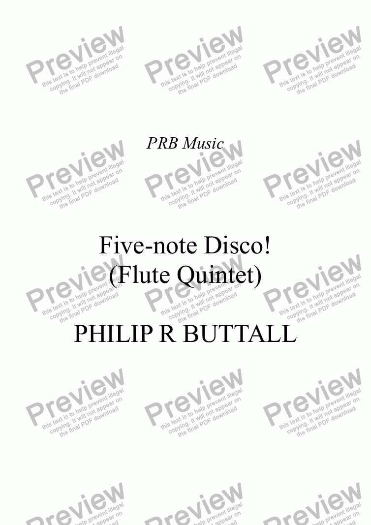 page one of Five-note Disco! (Flute Quintet)