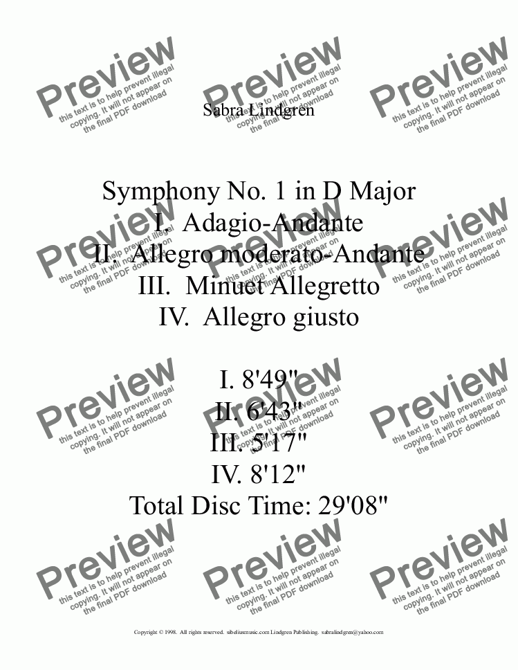 page one of Symphony No. 1 in D Major, I. Adagio-Andante