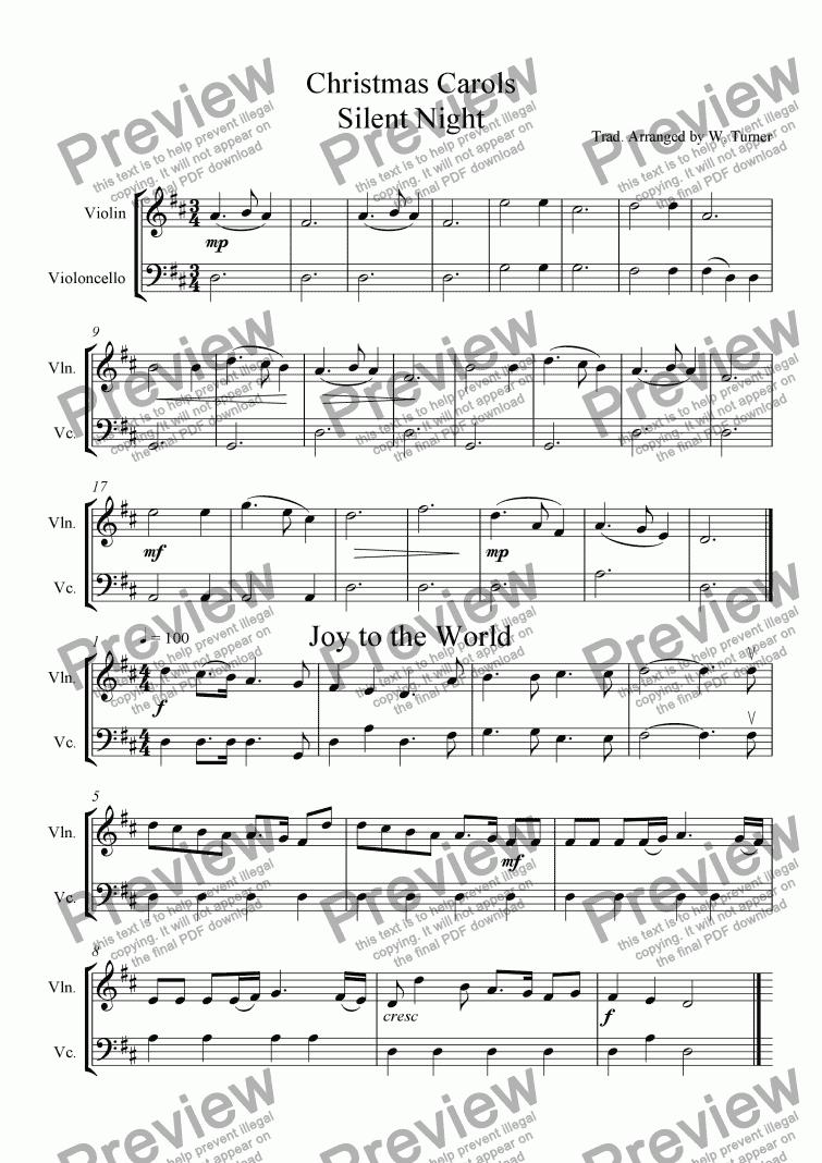 Six Christmas Carols violin/cello duets - Download Sheet Music PDF